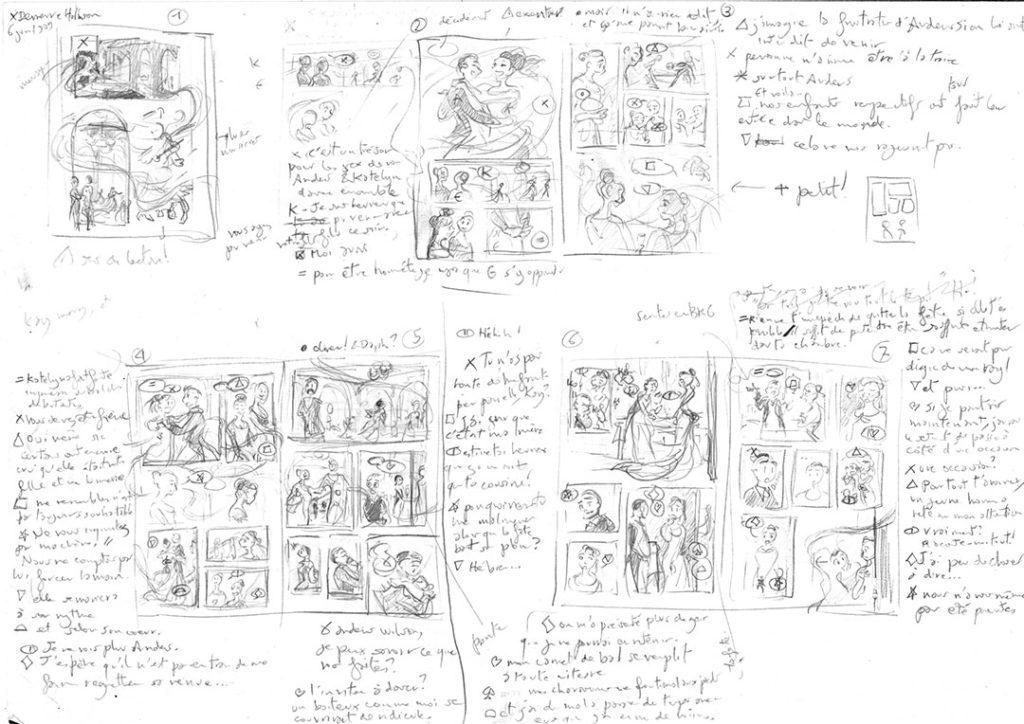 Faire une BD avec la méthode flocon : Exemple de storyboard extrait de Valse à trois
