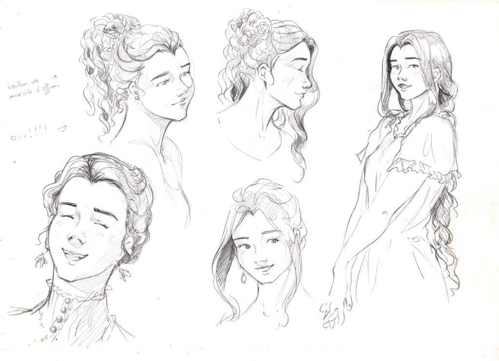Faire une BD avec la méthode flocon : Recherches graphique pour le personnage de Katelyn.
