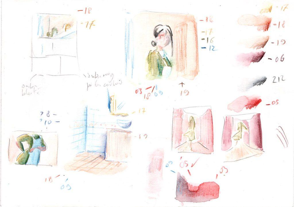 Recherches graphiques : avant de faire une BD en couleurs, il vaut mieux faire des tests préparatoires