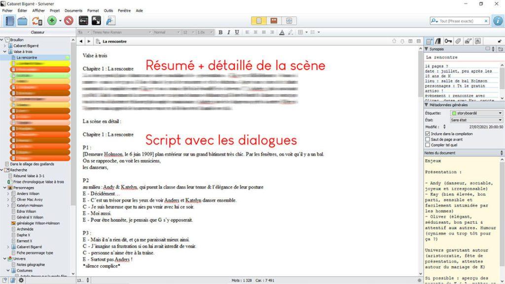 Faire sa BD avec la méthode flocon : rédiger le script (exemple utilisant Scrivener)